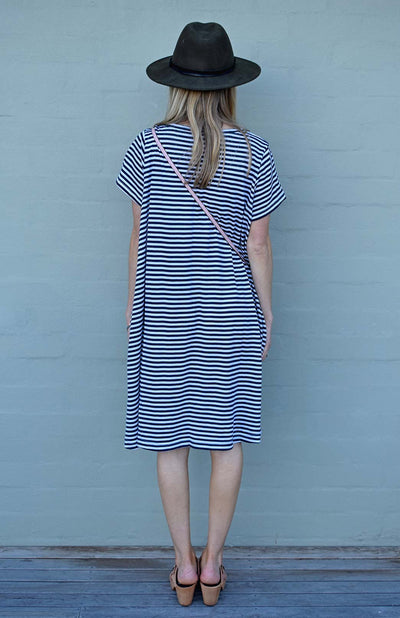 Navy Blue and White Narrow Stripe