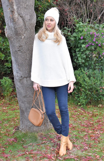 Chunky Cowl Poncho with Sleeves