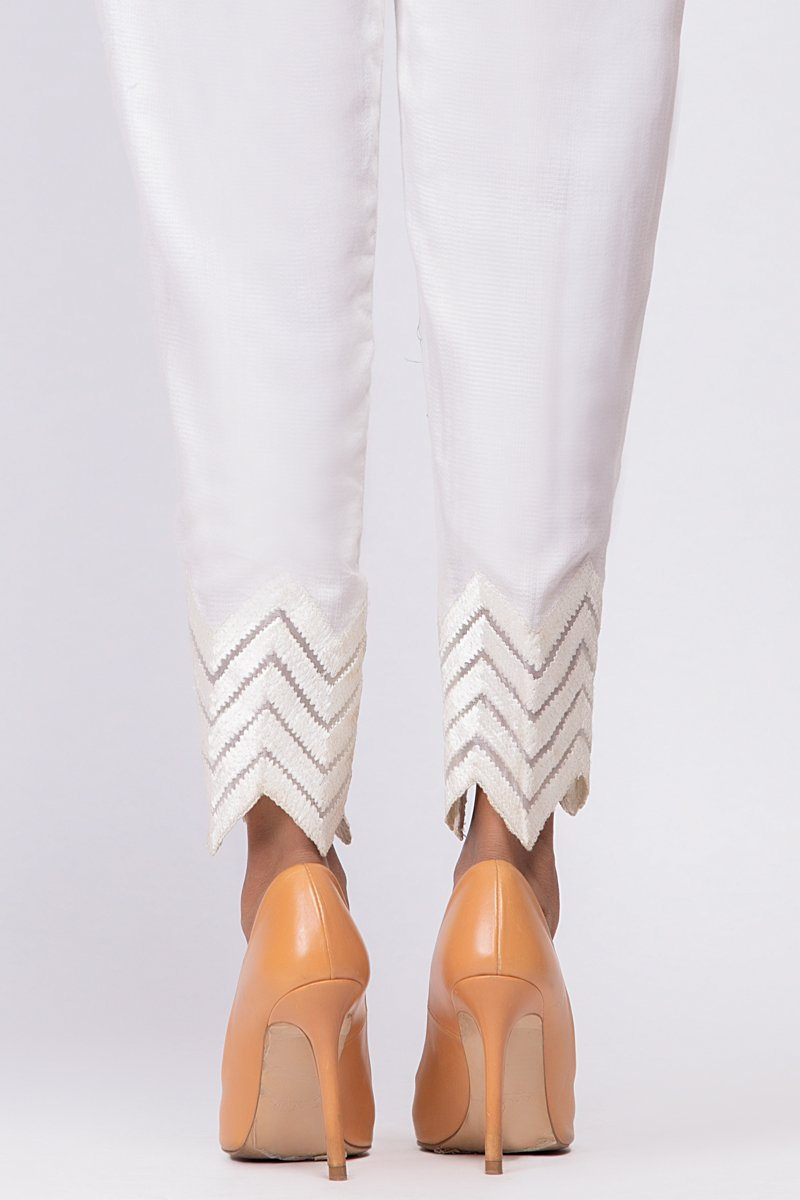 White Embroidered Pants