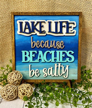 Load image into Gallery viewer, Lake Life Beaches be Salty SVG Laser Ready Glowforge Thunder File