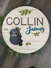 Load image into Gallery viewer, Laser Cut Wood Round Name Sign