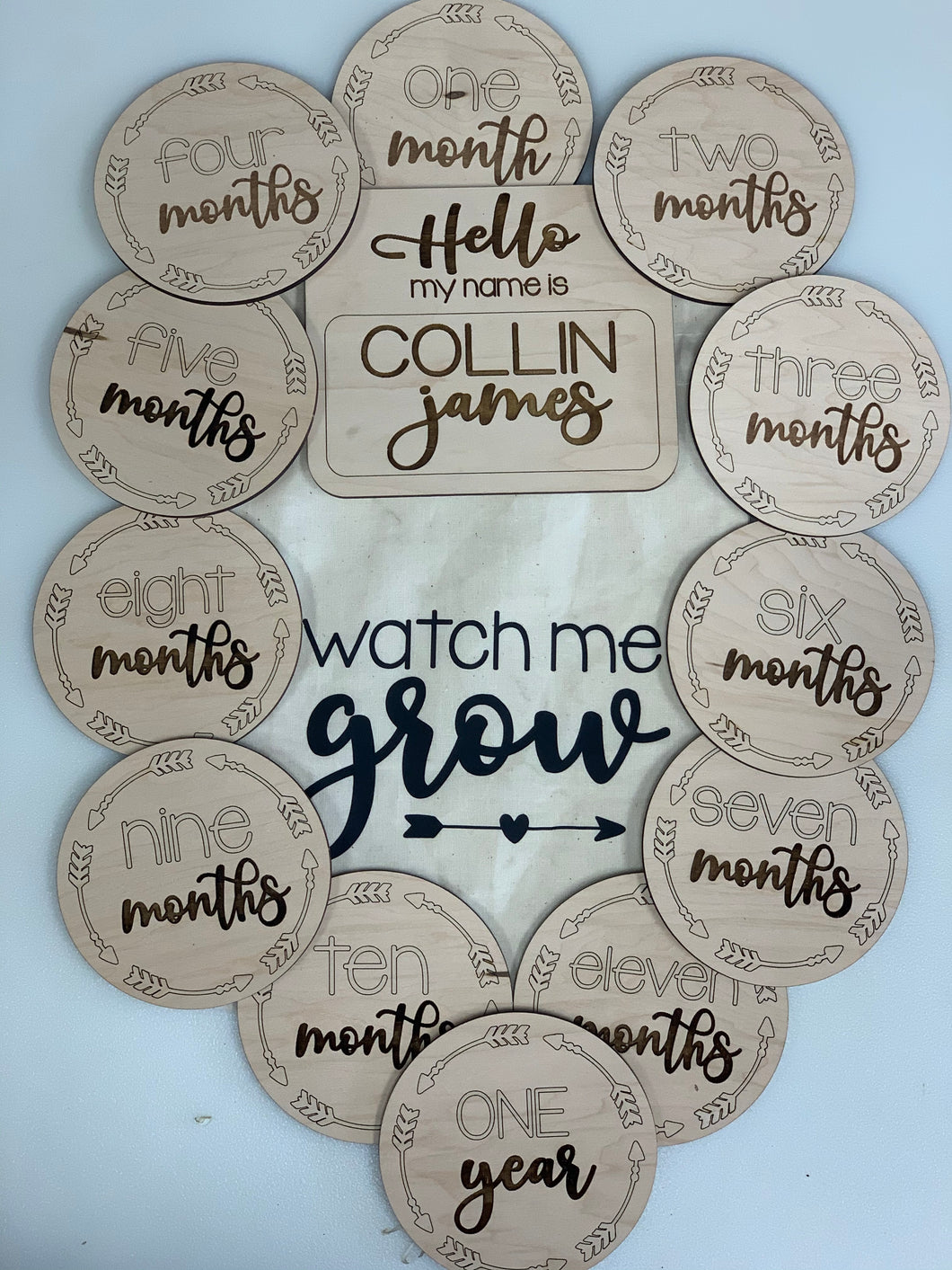 Baby Milestone Markers, Personalized Name Sign Option