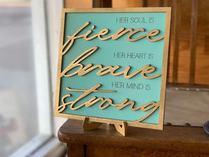 Layered Sign: Set of 2 Fierce Heart Game Changed Glowforge Ready Laser Files SVG