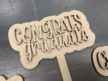 Load image into Gallery viewer, Graduation SVG Mini Signs on Sticks Decorations GLOWFORGE Laser Ready