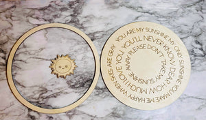 Layered Round Nursery Rhyme: You are my Sunshine Laser Ready SVG File Glowforge