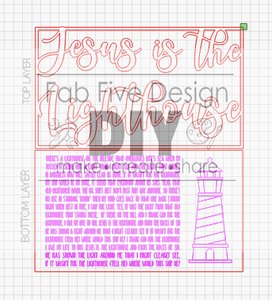Layered Hymn: Jesus is the Lighthouse SVG File Laser Ready  Glowforge
