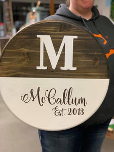 "Family Name Sign 18"" Round"