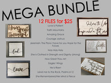 Load image into Gallery viewer, MEGA BUNDLE One DOZEN (12) Files Scripture Hymns Inspirational SVG Files Laser Ready Glowforge