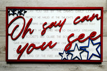 Load image into Gallery viewer, Layered Song: Star Spangled Banner Oh Say Can You See SVG Laser Ready File GLOWFORGE