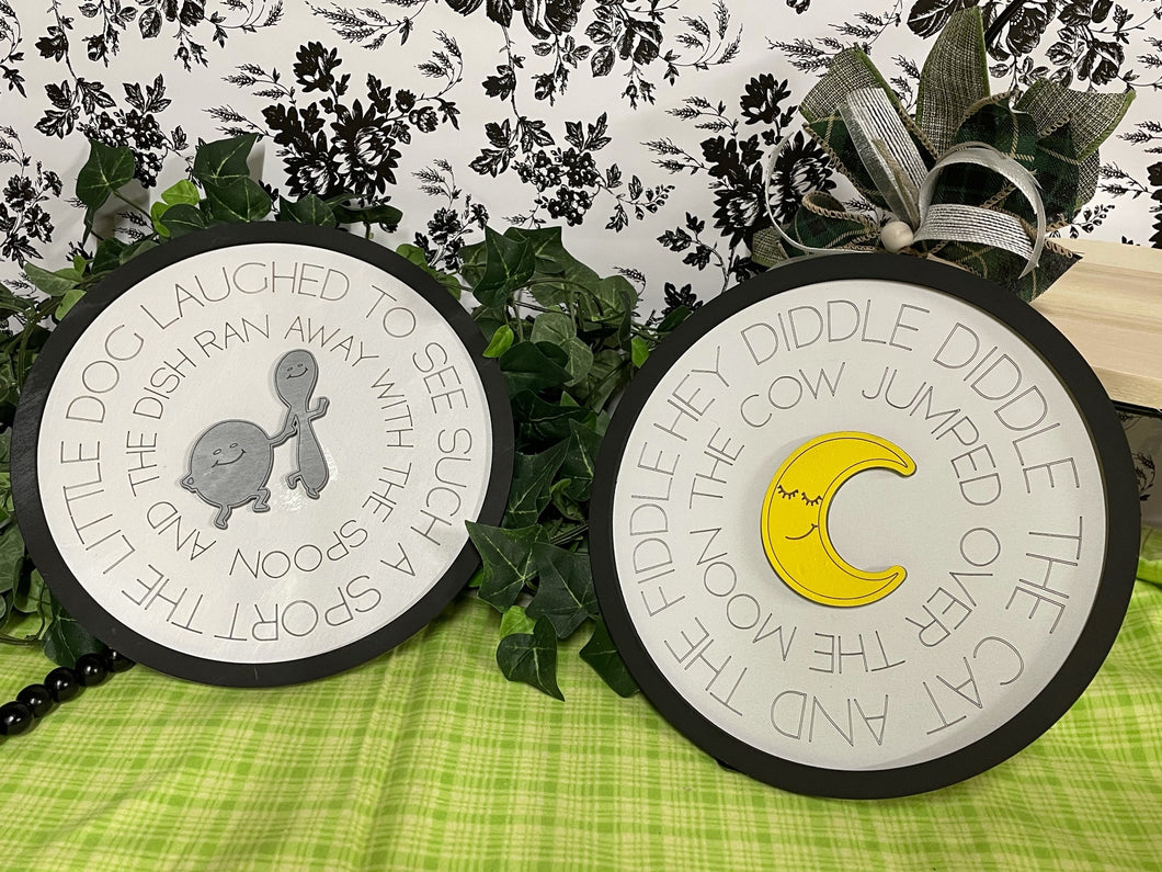 Layered Round Nursery Rhyme: Hey Diddle Diddle Set Laser Ready SVG File Glowforge