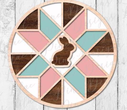 Stained Glass Bunny Barn Quilt