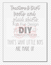 Load image into Gallery viewer, SVG Digital File: Tractors & Dirt Plaid Shirts Little Boys