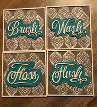 Load image into Gallery viewer, Set of 4 Square Layered Bathroom SIgns SVG Laser Ready File GLOWFORGE
