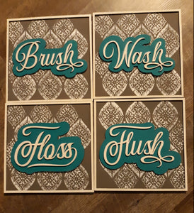 Set of 4 Square Layered Bathroom SIgns SVG Laser Ready File GLOWFORGE