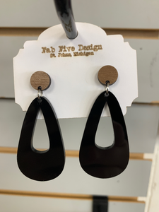 Acrylic & Wood Dangle Earrings