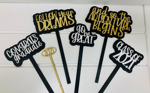 Graduation Mini Sign set on sticks
