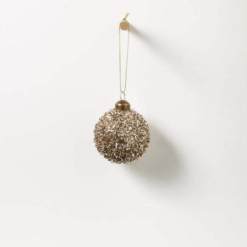 Symphony hanging glass bauble - champagne & tinsel - set of 4