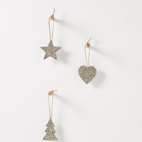 Christabel hanging champagne glitter decorations - set of 6