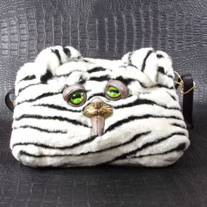 White Stripped Bunny Teeth Monster Bag