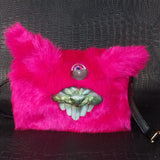 Hot Pink Bunny Large Teeth Monster Bag