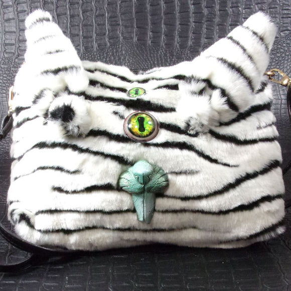 White Stripped Sm Bunny Teeth Monster Bag