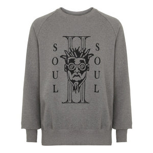 ITALICS DRED SWEATSHIRT - MÉLANGE CHARCOAL / BLACK FLOCKED