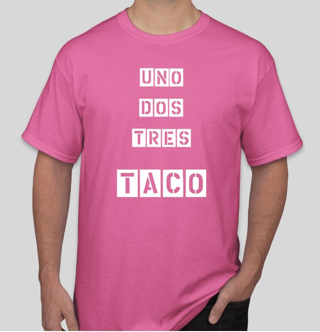 Uno Dos Tres Taco T Shirt Pink Angry Goat Pepper Co