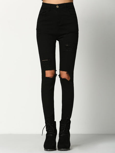 Cut Out Knee Ripped Jeans