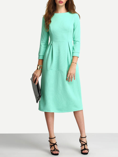 Box Pleated Midi Dress