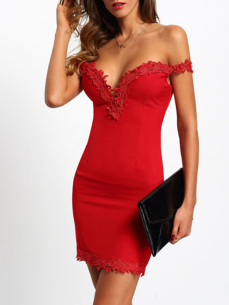 Guipure Lace Trim Sweetheart Bardot Bodycon Dress
