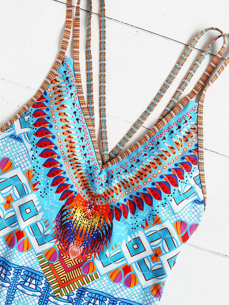 Crisscross Tribal Print One-Piece Swimsuit