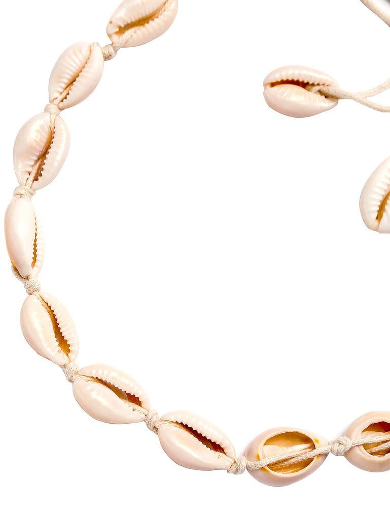 White Cowrie Shell Braided Choker Necklace