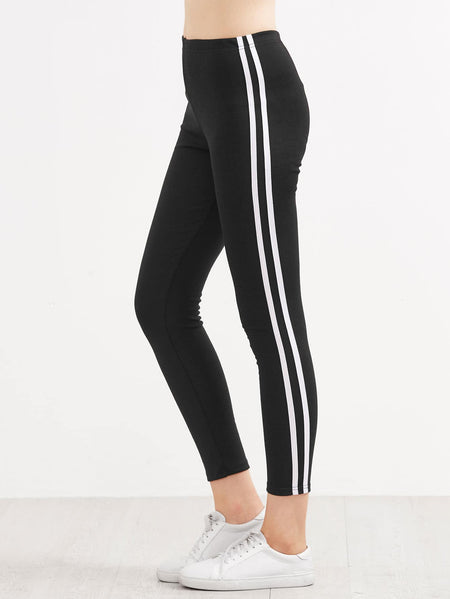 Contrast Side Striped Leggings