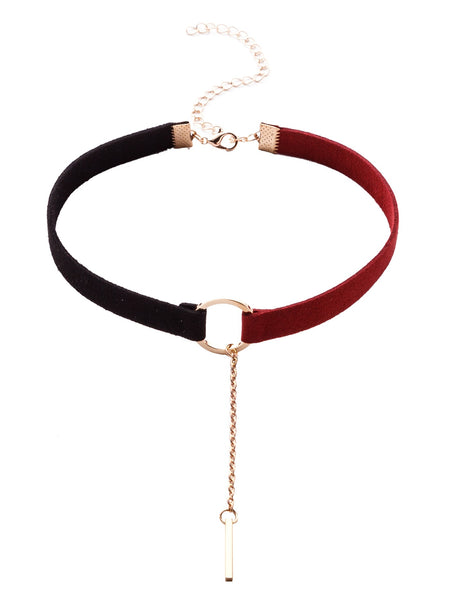 Black And Red Metal Ring Bar Pendant Choker Necklace
