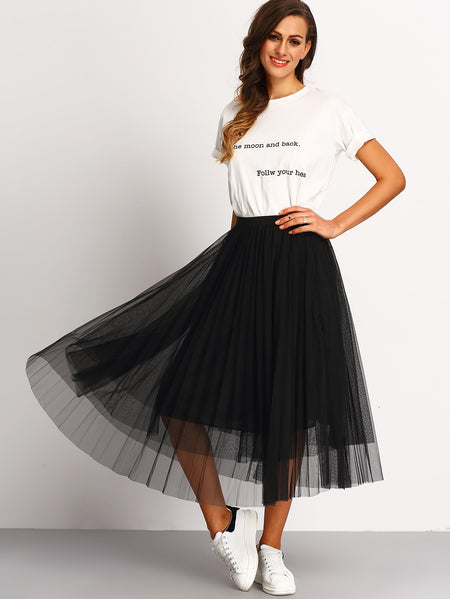 Mesh Pleated Elastic Waist Skirt