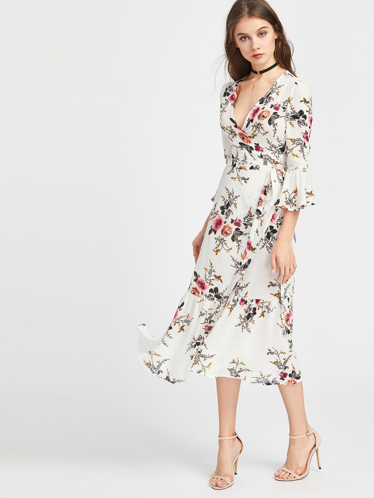 Surplice Wrap Plunge Floral Midi Dress