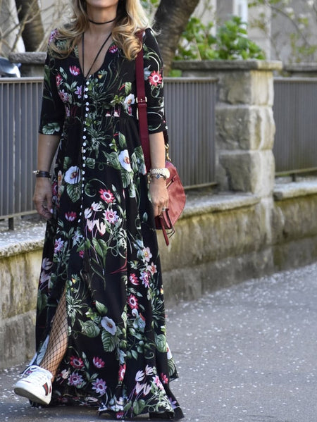 Smocked Waist Button Through Floral Maxi Dress