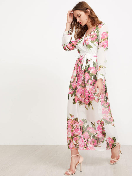 Surplice Neckline Florals Self Tie Chiffon Dress