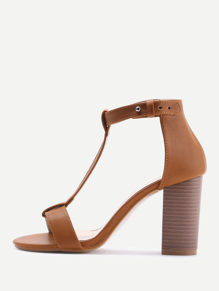 T-strap PU Block Heeled Sandals