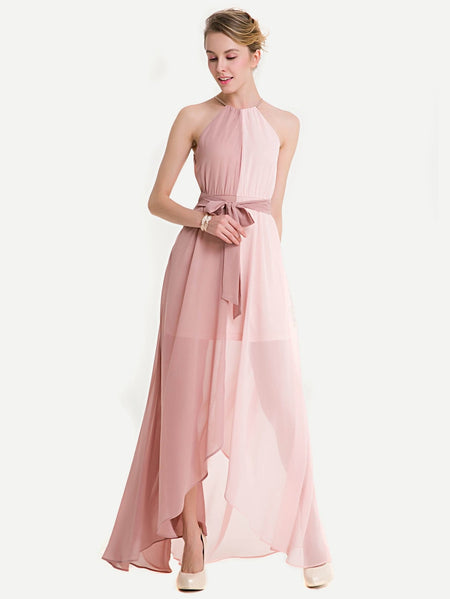 Spliced Two Tone Belted Halter Chiffon Dress