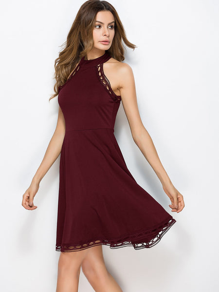 Hollow Out Trim Halter Skater Dress