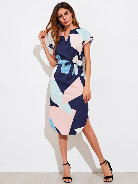 V Cut Geo Print Slit Side Curved Hem Dress