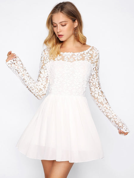 Guipure Lace Top Flare Dress