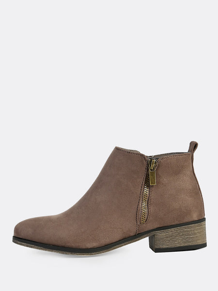 Faux Suede Round Toe Boots TAUPE