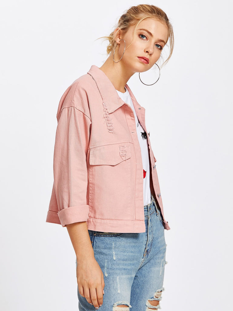 Single Breasted Ripped Denim Jacket