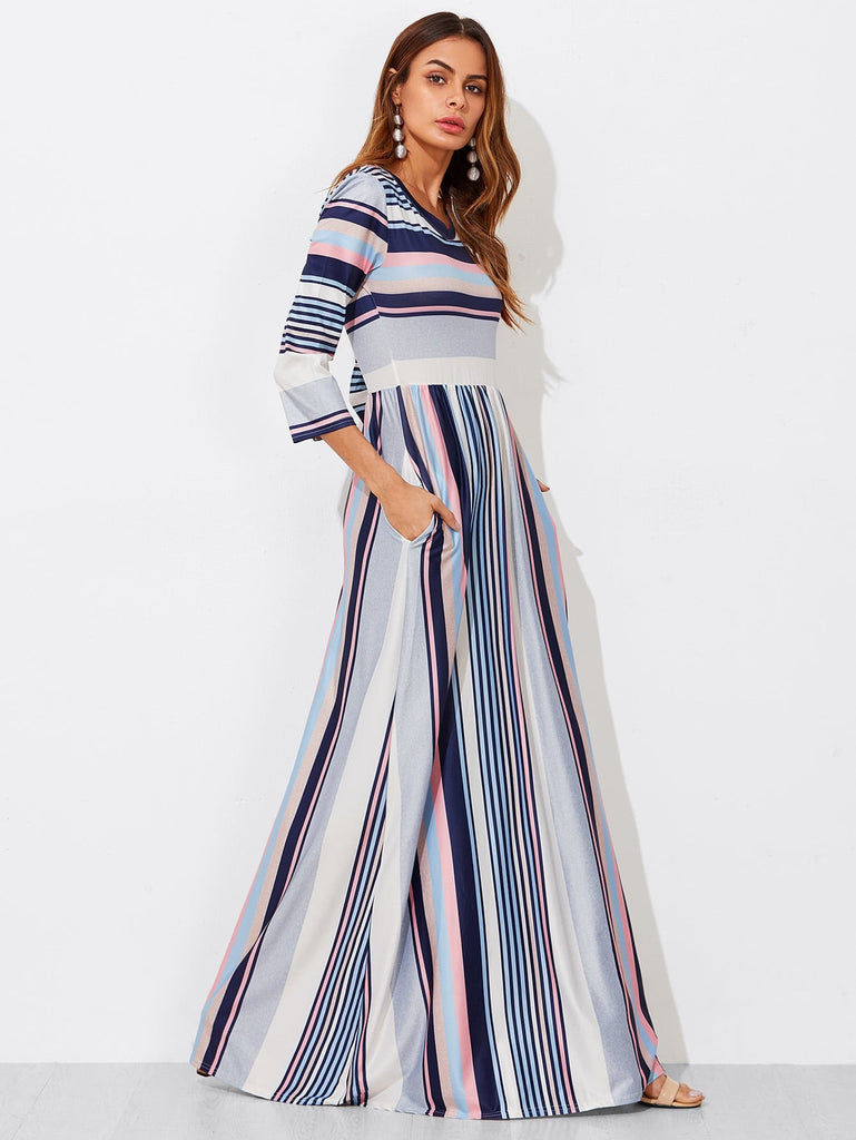 Colorblock Stripe Smock Maxi Dress