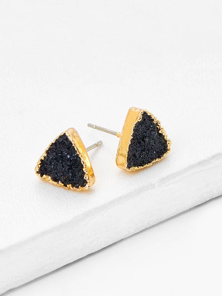 Contrast Triangle Design Stud Earrings 1pair