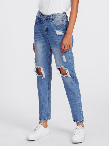 Ripped Knees Loose Jeans