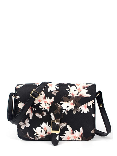 Flower Printed Crossbody Bag