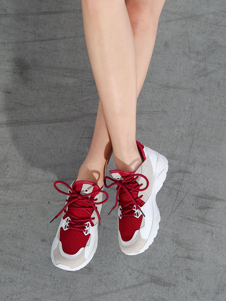 Color Block Lace Up Slip On Sneakers